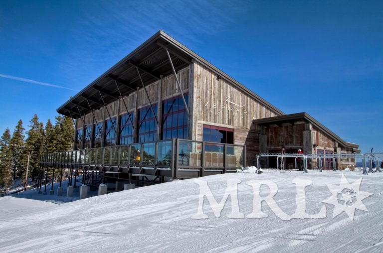 """A photo of our reclaimed corral board and barn board siding and paneling on this Tahoe-based ski resort, """"Zephyr Lodge""""."""