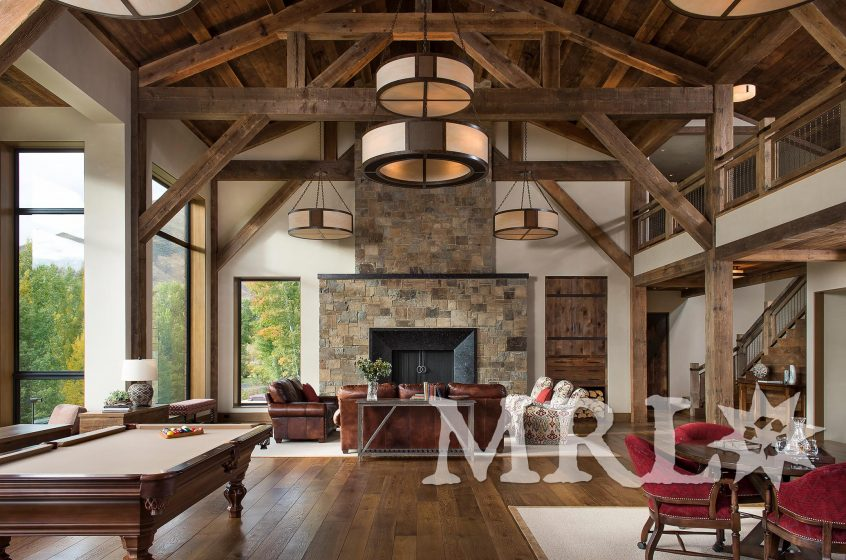 A photo of original patina timbers and vintage rafter stock throughout the Creekside Retreat project.