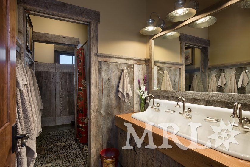 A photo of reclaimed rafter stock, barn board, corral board, and hand hewn accents throughout the Beartooth Foothills project.