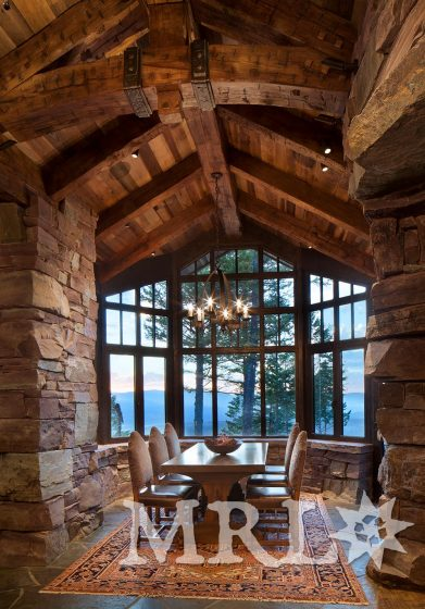 A photo of our white oak hand hewn timbers, ceiling, and paneling as featured throughout the Great Northern Lodge project.