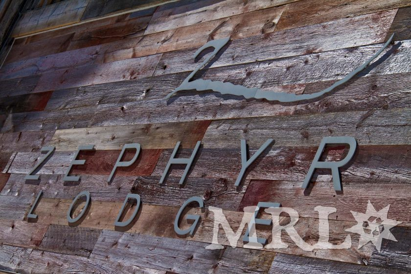 "A photo of our reclaimed corral board and barn board siding and paneling on this Tahoe-based ski resort, ""Zephyr Lodge""."